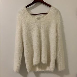 White fuzzy sweater from Banana Republic